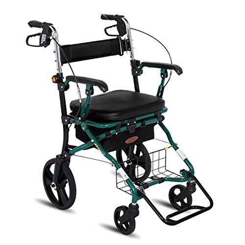 Transportwagen Einkaufstrolleys Einkaufswagen Supermarkt Einkaufswagen Einkaufswagen Vierrad-Fahrrad Rollator Leichte Falte Sitzplätze Tragfähigkeit 150 kg (Color : Green, Size : 57 * 62 * 89-93cm)