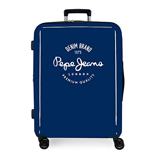 Pepe Jeans Nolan Maleta Mediana Azul 48x70x26 cms Rígida ABS Cierre TSA Integrado 81L 2 kgs 4 Ruedas Dobles