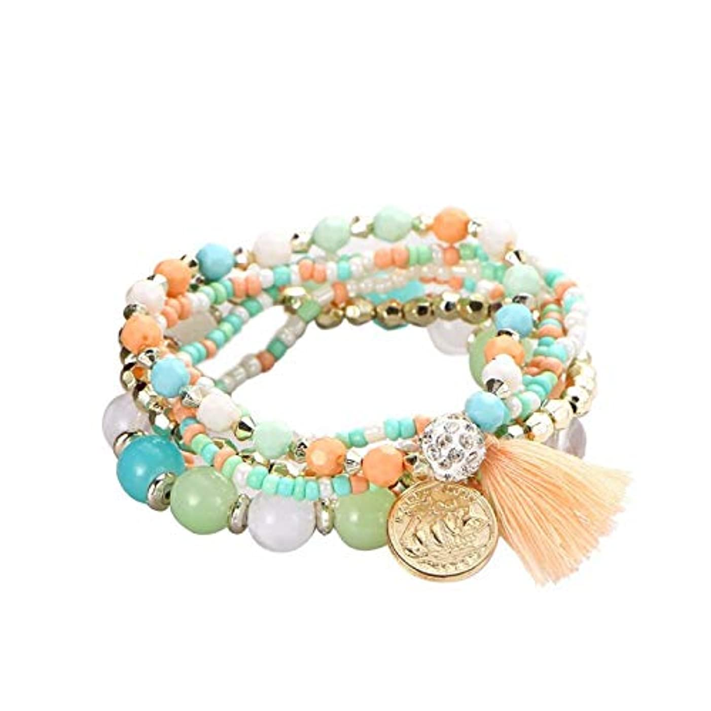 Qian Qian Fashion Bohemian Crystal Multicolor Beads Fringed Woven Coin Bracelet Adjustable Elastic Man Woman