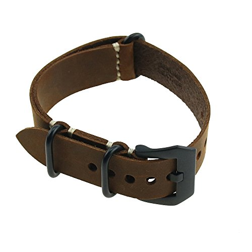 omyzam Herren Leder Ersatz Uhr Armband mit Mode Sport und Freizeit Zubehör Dornschließe aus Edelstahl NATO Langer Abschnitt 20mm Braun