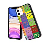 Warholesque Vivid Hearts in Colorful Squares Pop-Art Inspired Artwork 600 - Carcasa delgada para iPhone 11Pro, silicona TPU protectora ligera ultra delgada