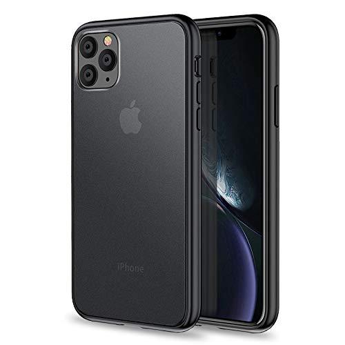 YUY Aplicable A La Funda del iPhone 11: Cubierta De Protección Anticaída Cubierta Antiarañazos Y A Prueba De Golpes Piel Anticaída Mate De TPU + PC,Black1-6.1