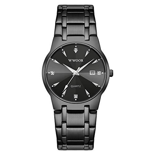 Montloxs Reloj de Cuarzo para Hombre, Exquisito Reloj de Pulsera para Hombre con Esfera de Diamante, Hora y Calendario, indicador Luminoso, 30 m, Relojes de Negocios Impermeables, Correa de Acero