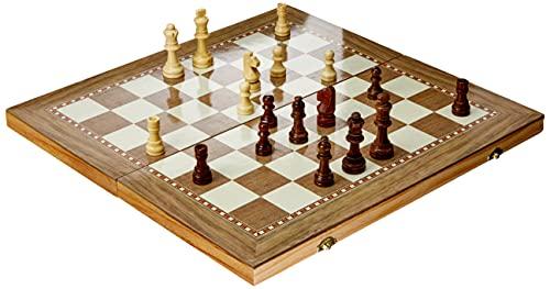 Jogo Xadrez Dama Gamão 3 Em 1 50x50 Madeira Tamanho Grande