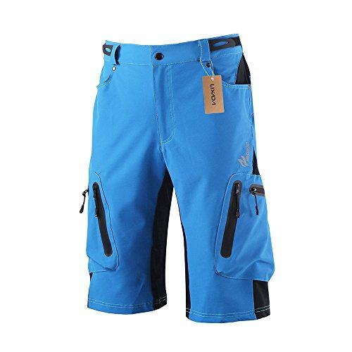 Lixada Herren Kurze Hosen, Männer Fahrradhose, Atmungsaktiv Radhose, Schnelltrocknende MTB Hose - Wasserabweisend Outdoor Hosen/Wanderhose, Blau, XL(CN)=L(EU)