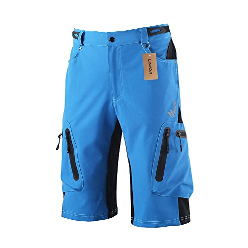 Lixada Men's Bicycle Shorts ,Breathable Mountain Bike Shorts Lightweight and Baggy MTB Shorts for Outdoor Cycling Running Gym Training (Blue, M)