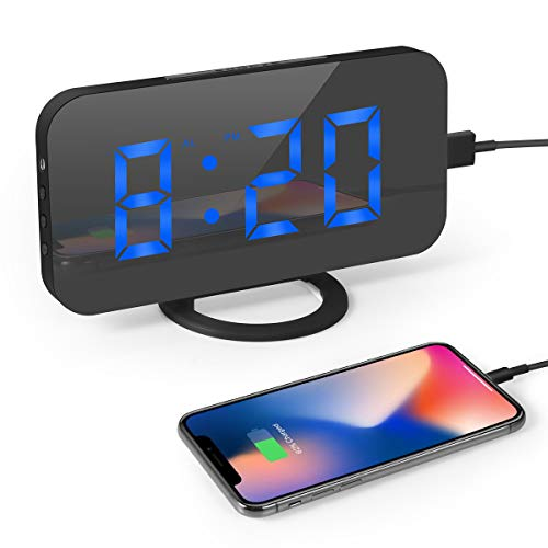 Digital Alarm Clock, 6.5'' LED Screen, Snooze, 12/24H, 3 Brightness, Dual USB Port with Charging, Easy Digital Clock for Kids and Adults, Alarm Clocks for Bedrooms Kitchen Office