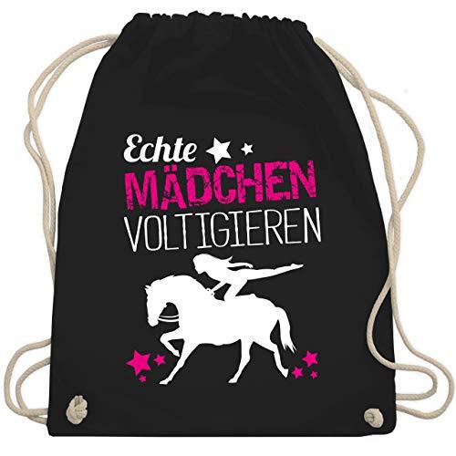 Shirtracer Reitsport - Echte Mädchen voltigieren - Unisize - Schwarz - turnbeutel voltigieren - WM110 - Turnbeutel und Stoffbeutel aus Baumwolle