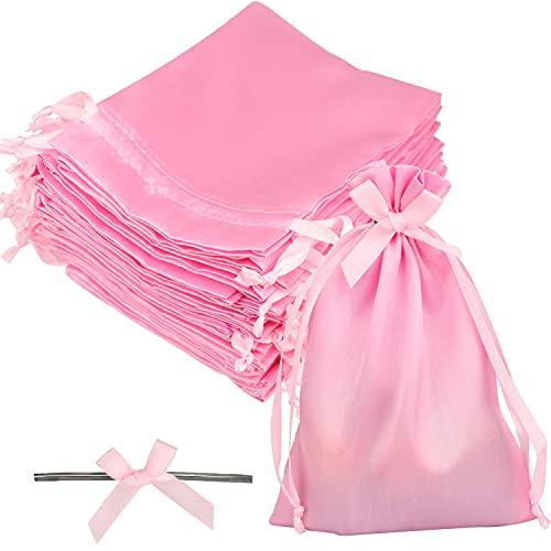 GUIFIER 30 piezas Bolsas rosadas para fiestas, Bolsos de joyería de seda, Bolsas de papel de regalo con cordón de satén, Bolsas de caramelo de Baby Shower,Bolsas de regalo de Navidad(13 x 18 cm)