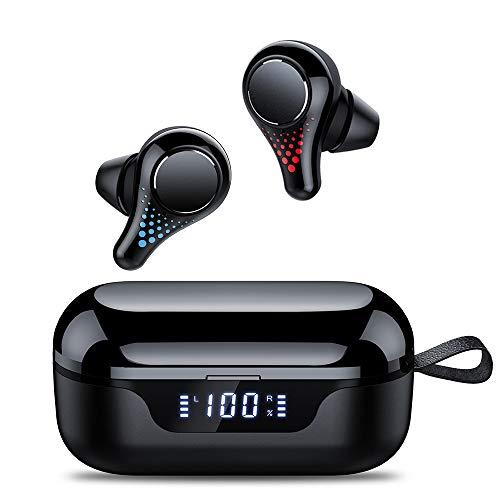 Tiksounds Cuffie Bluetooth Senza Fili, Auricolari Wireless Bluetooth 5.0 Portata Fino a 15m, CVC 8.0, Accoppiamento Automatico, 35 Ore Di Riproduzione, Touch Control per Samsung iPhone Huawei