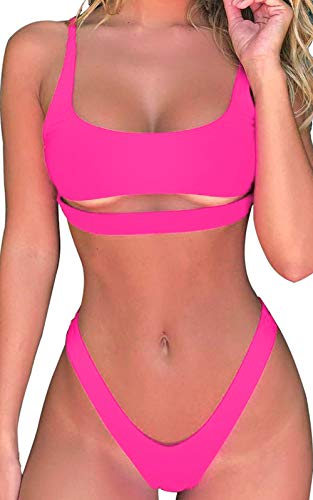 Byoauo Women Cutout Bikini Scoop Neck Straps Cutout High Cut Thong Two Pieces Swimsuit hot Pink Bikini