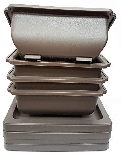 Bonsaischale aus Kunststoff, 17,5 cm, mit passendem Tablett, 4 Stück