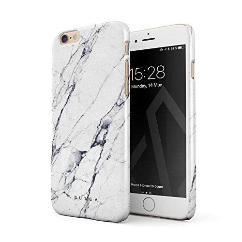 BURGA Hülle Kompatibel mit iPhone 6 Plus / 6s Plus - Handy Huelle Licht Weiß Marmor Muster White Marble Mädchen Dünn Robuste Rückschale aus Kunststoff Handyhülle Schutz Case Cover