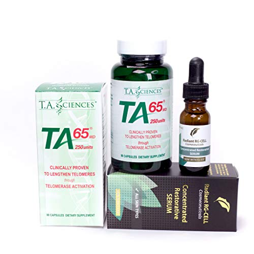 T.A. Sciences | TA-65 Supplement | 1x90 Capsules | 250 U | Free $99.00 Value | Rg-Cell Concentrated Restorative Serum with EGF &AFA Algae