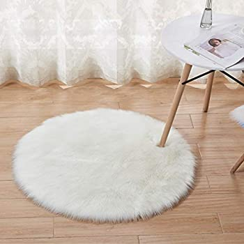 AWCNL Area Carpets Floor mats Fluffy Carpet Imported Artificial Wool Sheepskin Carpet Children s Room Decoration Suitable for Bedroom Floor Sofa Living Room 3 x 3 Feet Round  White