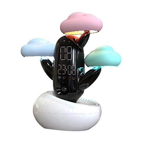 FPRW Smart digitale wekker, bureauklok, brandt intensief met geluidstemperatuur in de wolk, 1800 mAh, 3 W, DC 5 V, wit
