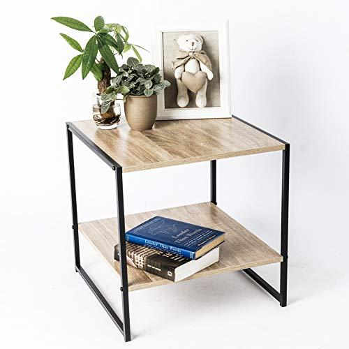 C-Hopetree Mesa de café con estante de almacenamiento, mesa de cóctel de madera baja industrial vintage moderna para sala de estar, marco de metal negro, madera, multicolor, Side Table