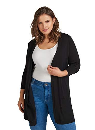 Zizzi Damen Große Größen Einfarbiger Basic Strick Cardigan mit Taschen Gr 42-56
