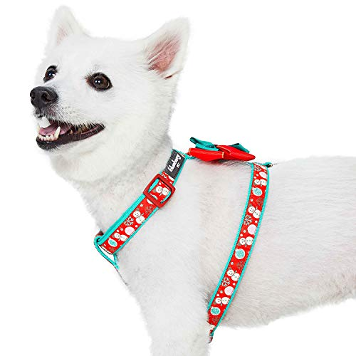 Blueberry Pet Snowman Making Christmas Designer No Pull Dog Harness with Bowtie, Large, Adjustable Harnesses for Dogs