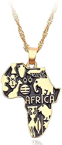 niuziyanfa Co.,ltd Africa Map Necklace Flag Totem Necklace Animal Symbol Elephant Pendant Gold Color Chain African Maps Necklaces Women Men Choker Jewelry for Women Men