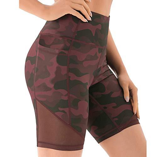 Pudyor Pantalones Cortos Deportivos para Mujer Shorts Camuflaje Tie-Dye Leggins Push up de Cintura Alta Mallas de Yoga para Correr Gym Fitness Pantalón Transpirables Elásticos con Bolsillos