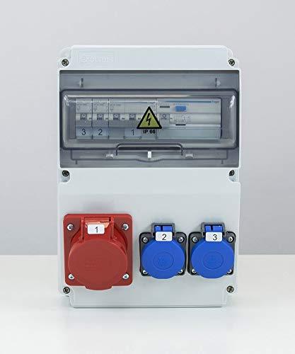 Estuche eléctrico de obras impermeable con Edo ASTAT 120 SP 1x16A/5P, 2x230V, disyuntores Hager