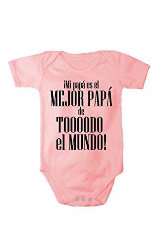 Fabio Farini baby-body met korte mouwen voor meisjes en jongens, 100% katoen, beste papa in verschillende talen, roze, Spaans, maat 74
