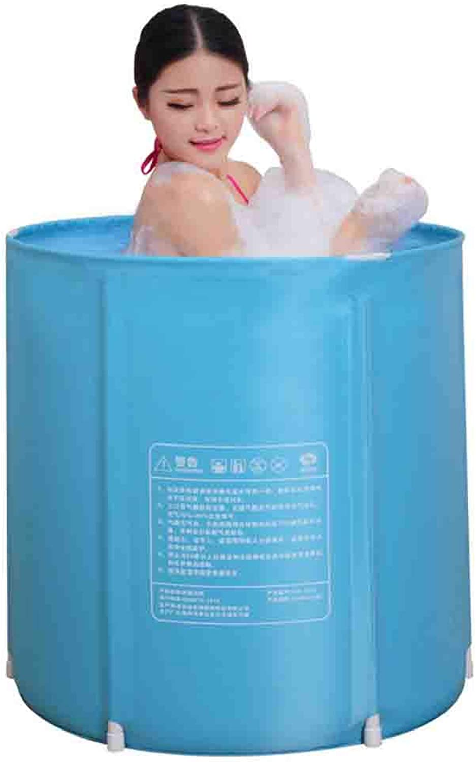 Bathtub Household Folding Adult Thick Plastic Bath Barrel Baby Swimming Pool bluee With Lid To Send Bath Bag