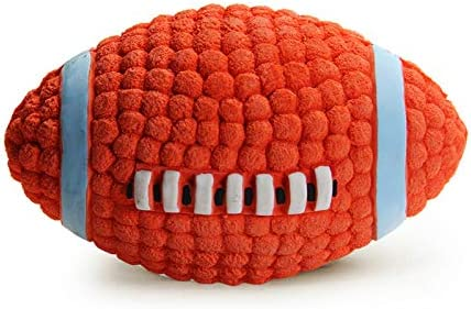 LifeCom Latex Dog Play Chew Fetch Ball Squeaky Dog Play Rugby Football for Pet Toy Floating product image