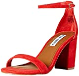 Steve Madden Women's DECLAIRW Heeled Sandal, red Suede, 9 W US