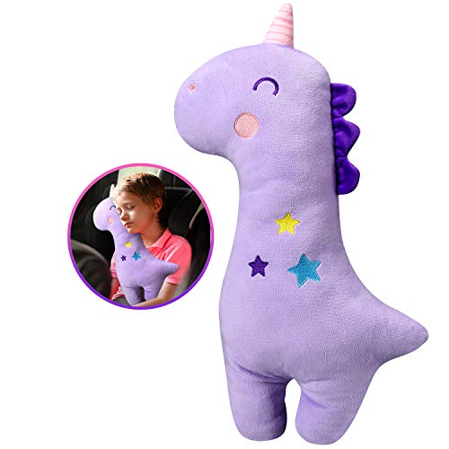 Unicorn Seat Belt Pillow Kids - Farochy Unicorn Seat Belt Cover, Vehicle Shoulder Pads, Car Seatbelt Cushion for Kids, Seat Strap Pillows Kids, Animal Travel Pillow (Purple)
