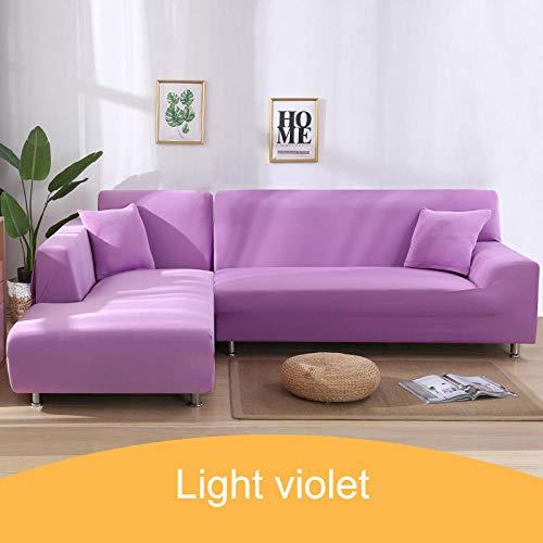 L-vormige bankhoes,Effen hoes voor hoekbank, 1 2 3 4-zitsbankhoes voor huisdieren -15-Light_violet_1-seater_90-140cm
