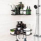 Kadolina Adhesive Corner Shower Caddy Shelf, 2 Pack Bathroom Shower Organizer Shelves Hanging, No...