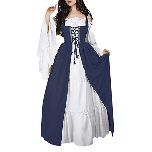 BakeLIN Retro Kleid Damen Langarm Kleid Cosplay Dress Mittelalter Kleidung Kostüm Lang Halloween Kostüm Trompetenärmel Party Kostüm Maxikleid Kleid Zur Hochzeit Vintage