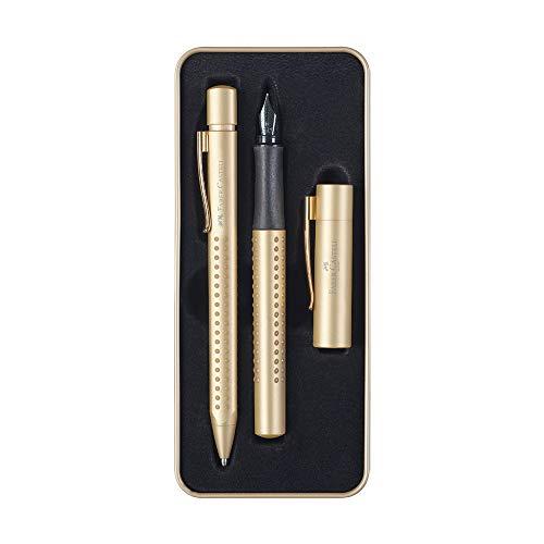 Faber-Castell 201625 Grip Edition Geschenkset, Füller Federbreite M & Kugelschreiber mit Großraummine XB, im hochwertigen Metalletui, Gold