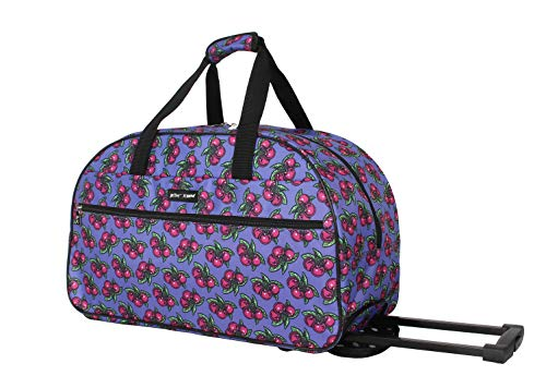 Betsey Johnson Designer Carry On Luggage Collection - Lightweight Pattern 22 Inch Duffel Bag- Weekender Overnight Business Travel Suitcase with 2- Rolling Spinner Wheels (Cherry Pie)