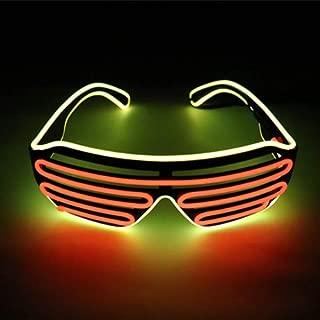 OCMCMO Gafas para fiestas, LED Luz Gafas, 2 Colores Gafas de Luminosas para Festival, Fiesta de cumpleaños, Halloween, Bar, Festival de Musica, Eres lo mas Especial, Control de Voz (Verde + Naranja)