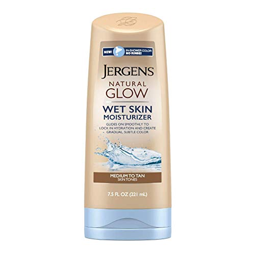 Jergens Natural Glow In-shower Moisturizer, Medium to Tan Skin Tone, 7.5 Ounce Wet Skin Lotion, Locks in Hydration with Gradual, Flawless Color