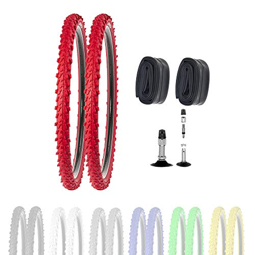 P4B   2 pneus de vélo de 26' 50-559 avec chambres à air DV en rouge   26 x 1,95   Bonne tenue sur les chemins de camp et les sols lisses grâce aux crampons extérieurs et intérieurs.