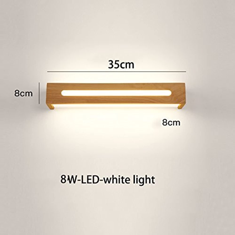 MDD Licht, Badezimmerspiegel Scheinwerfer Einfache Mode Massivholz Led Wand für Treppenhaus Gang Bett Gesund und Umweltfreundlich Schützen Sie die Augen,Weies Licht,35cm-8W