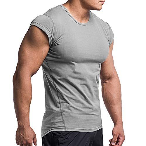 Herren T-Shirts Fitnessstudio Hemden Kurz Ärmel Muskel Schnitt zum Bodybuilding Tops