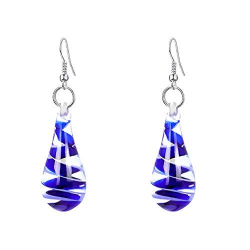 Jianan Les Gouttes d'eau Boucle d'oreille Murano Inspiration Verre Spirale Fleur pour Accessoires Femmes,Bleu