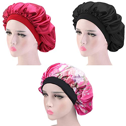 3 Pieces Sleep Caps, Women Night Sleeping Cap for Long Curly Hair, with Soft Elastic Band (Color B)