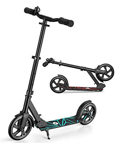 Kulobby Scooter for Kids 8 Years and Up with DIY Matte Paper-Kick Scooter for Adults, EVA Foam Cotton Handles,Easy Carrying,Widened and Comfortable Handlebars