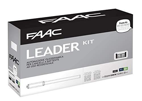 Faac 105633445 Leader Kit 230V Automazione Oleodinamica per Cancelli e Portoni a Battente con Lampeggiatore e Fotocellule - Max Anta 1.8 M - 230V, Bianco