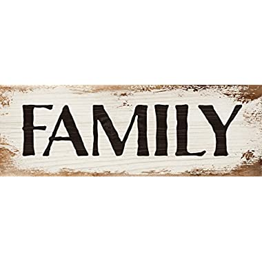 Family Bold White Wash 16 x 6 Inch Solid Pine Wood Plank Wall Plaque Sign