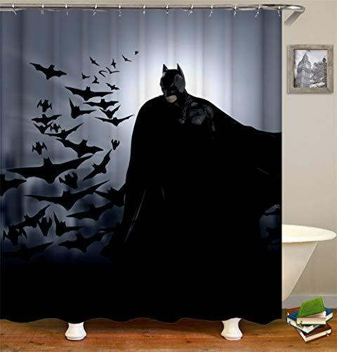 ZZZdz Batman Im Dunkeln. Fliegende Fledermäuse. Duschvorhang 3D Hd-Druck Verblasst Nicht 180X180 cm Wasserdichtes Gewebe 12 Freie Haken Hauptdekoration.