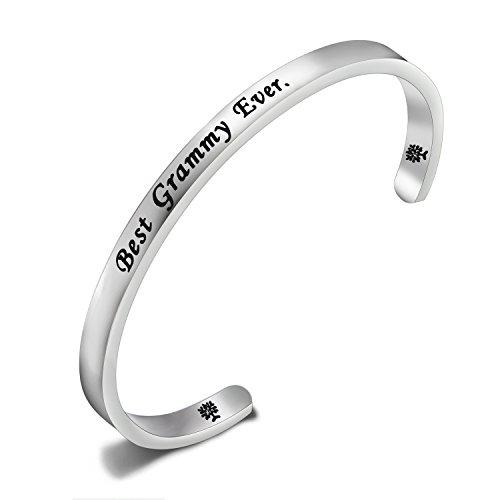 FEELMEM Best Grammy Ever Cuff Bangle Bracelet Grandma Bracelet Mother's Day Gift for Grammy,Grandma Gift (Silver)