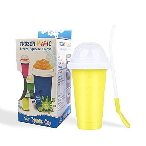 Homemari Slush Ice Becher Slushy Maker Chillfactor Kühlbecher Magic Freeze Becher für Eis selber machen mit Strohhalmlöffel