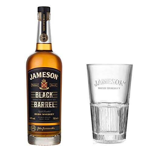 Jameson Black Barrel Blended Irish - Set de Whisky (con Vaso de Cristal, Whisky, licores, en Caja de Regalo, Alcohol, Botella de 40%, 700 ml)